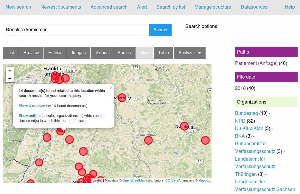 Analyze and explore big documents sets with exploratory search, text